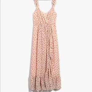 Madewell Ruffle-Strap wrap dress in ink spot dot